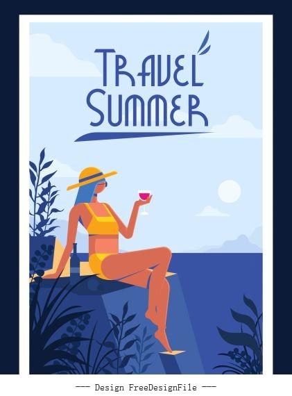Summer travel banner relaxing bikini girl vector