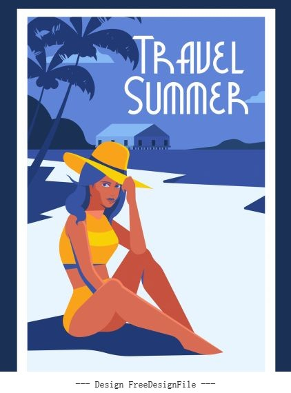 Summer travel poster bikini girl seaside vectors