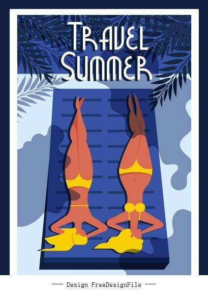 Summer travel poster sunbathing women vector