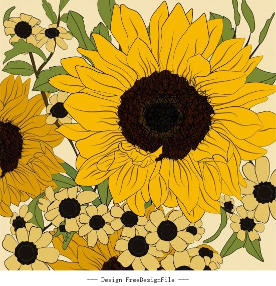 Sunflower painting closeup classical colored handdrawn vector