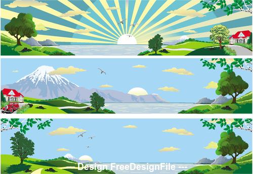 Sunrise nature landscape vector