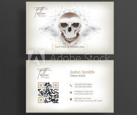 Tattoo artist business cards vector