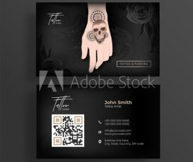 Tattoo business cards design vector
