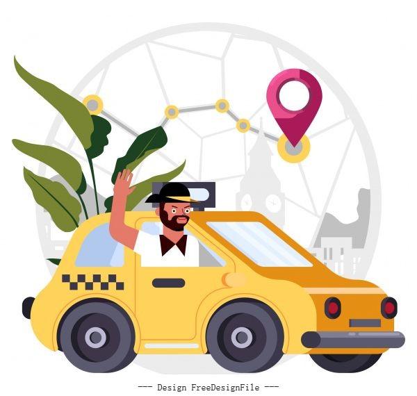 Taxi job background man car positioning map vector