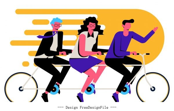Team work background employees riding bicycle vectors material