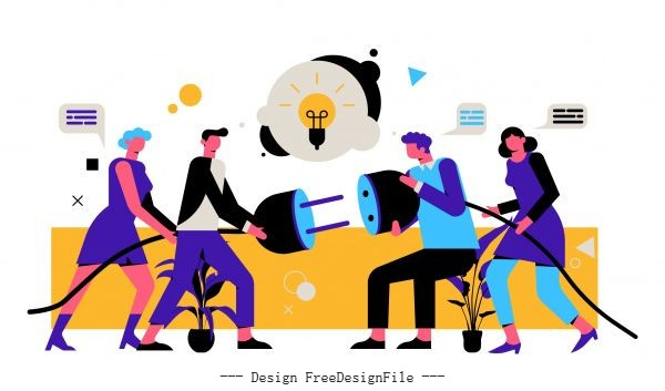 Team work background staffs plug socket lightbulb vector