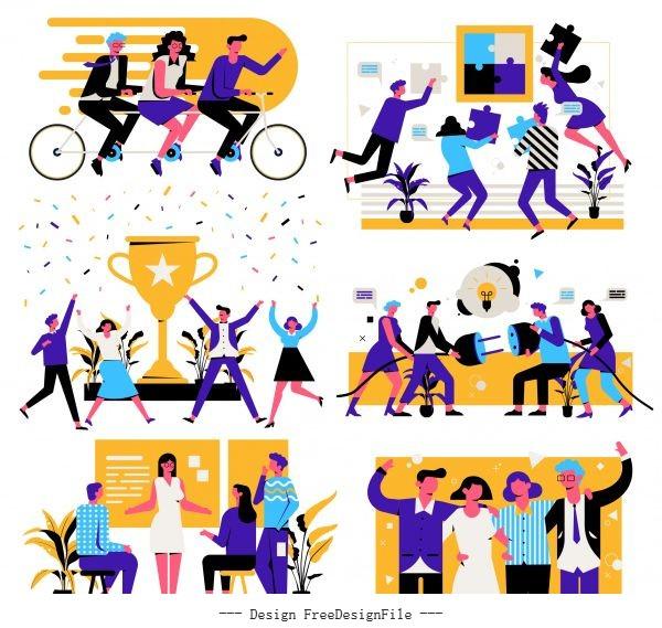 Team work concept backgrounds employees activities cartoon vector