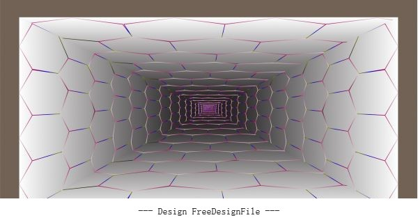 Technology background 3d depth tunnel geometric polygon wall vector