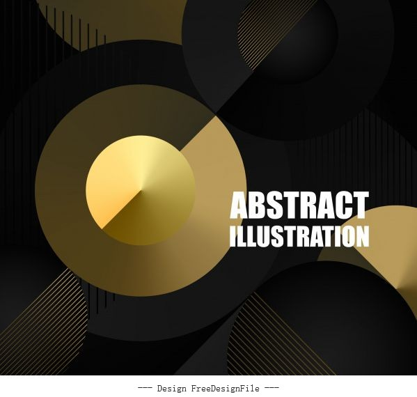Technology background golden circles dark vectors material