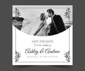 Template black and white wedding photo vector