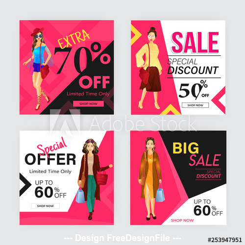 Template different discount poster design vector