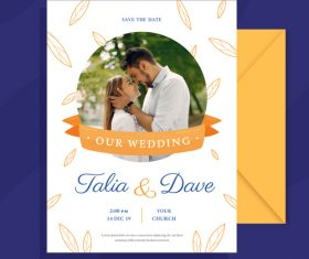 Template our wedding wedding invitation vector