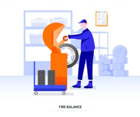 Tire balance illustration vector