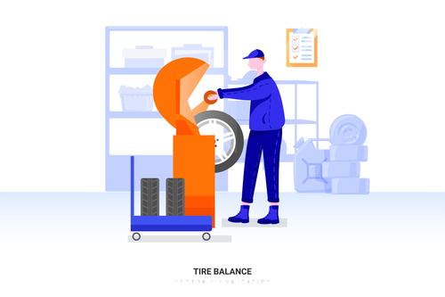 Tire balance illustration vector