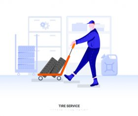 Tire service illustration vector