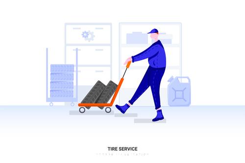 Tire service illustration vector