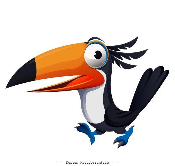 Toucan bird funny cute cartoon character vector design