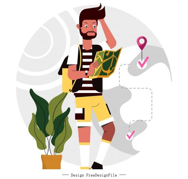 Tourist painting backpacker positioning map cartoon vector material