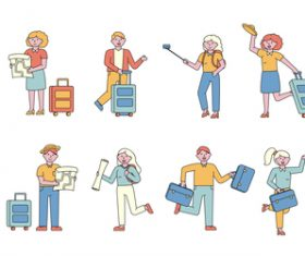 Tourists lineart people character vector