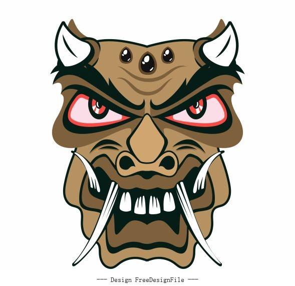 Traditional mask frightening devil horned face vector