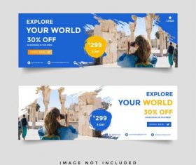 Travel brand banner brochure vector