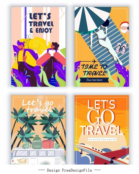 Travel banners templates bus airplane tourists vector