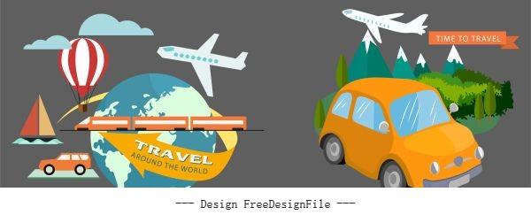 Travel elements vehicles globe landscape vector
