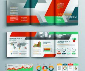 Tri fold color brochure flyer template vector