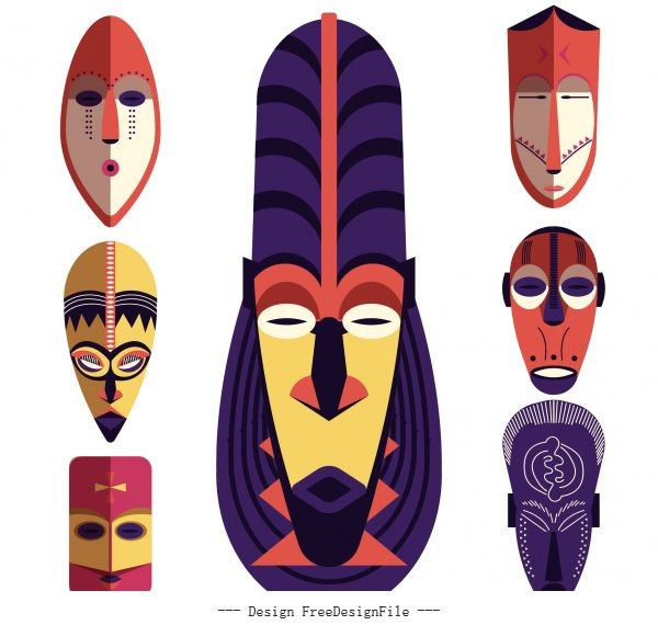Tribal mask templates colorful retro symmetric vector