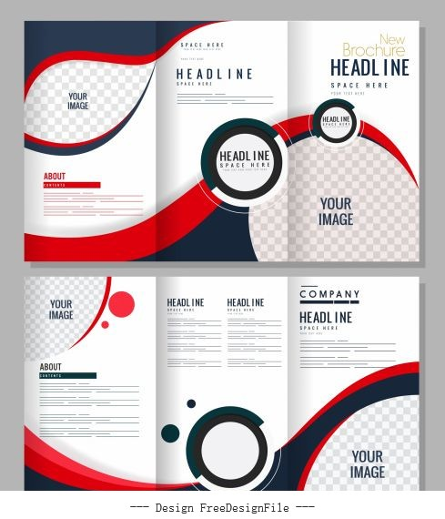 Trifold brochure templates modern bright checkered vector