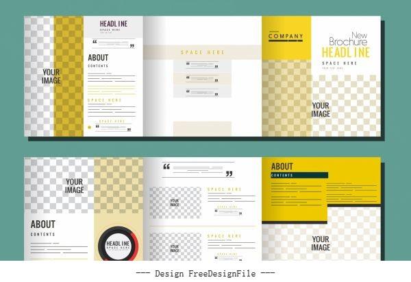 Trifold brochure templates modern bright checkered decor vector