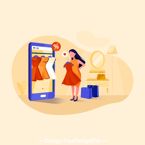 Trying clothes illustration vector
