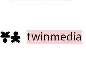 Twin media logo template vector