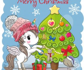 Unicorn and christmas tree cartoon vector