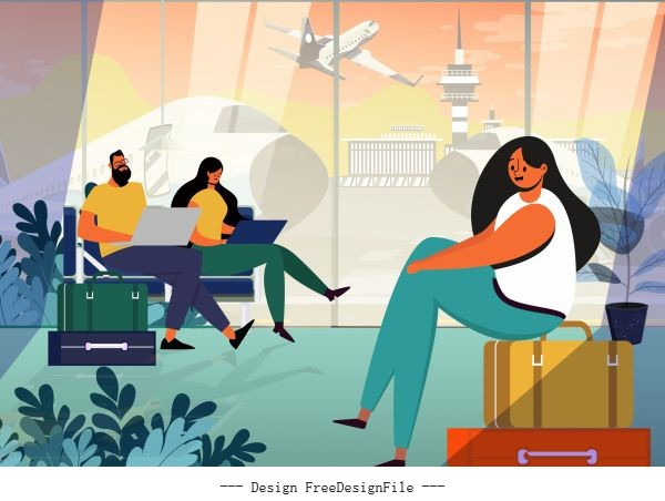 Vacation background tourists airport departure hall vector