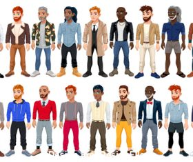 Varied Male Fashion Avatar vector