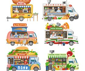 Various food sales cart vector
