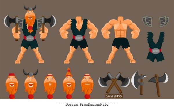 Viking knight elements body components weapon vector