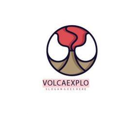 Volcano explosion logo vector
