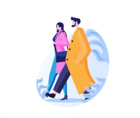 Walking couple cartoon vector