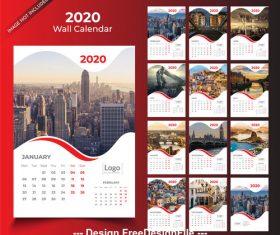 Wall calendar 2020 red template vector