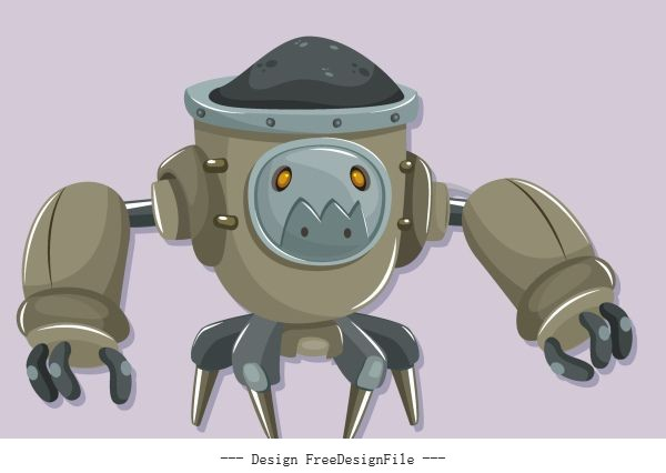 Warrior robot modern grey cartoon character vector