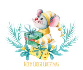 Watercolor illustrations Christmas New Year card vector