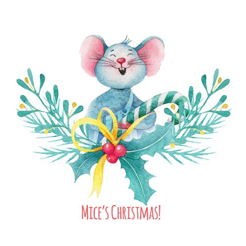 Watercolor illustrations rat new year card vector