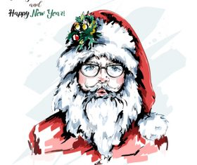 Watercolor santa claus vector