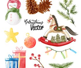 Watercolor vintage Christmas elements vector