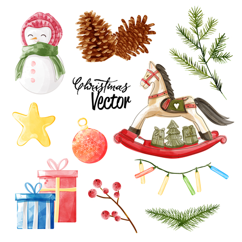 Watercolor vintage Christmas elements vector