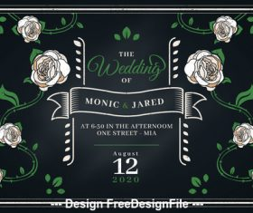 Wedding invitation flower background decorative vector