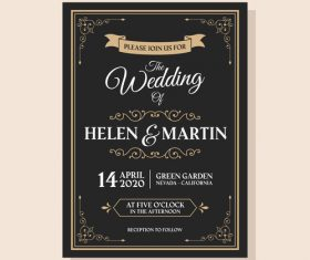 Wedding invitation on dark background vector