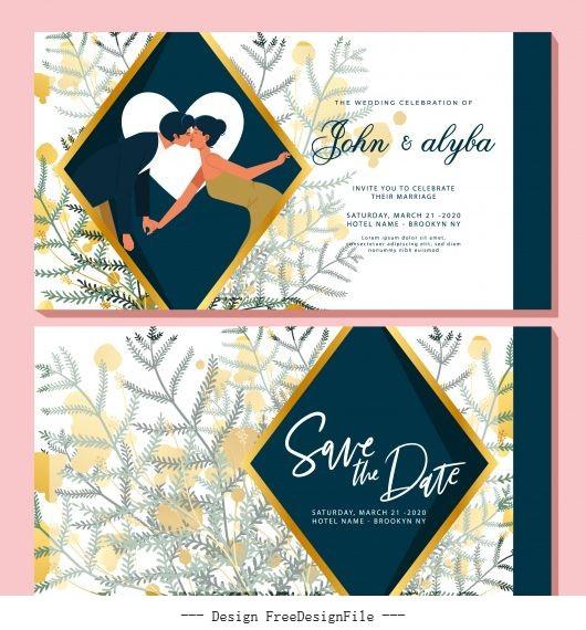 Wedding card template romantic couple elegant flowers decor vector